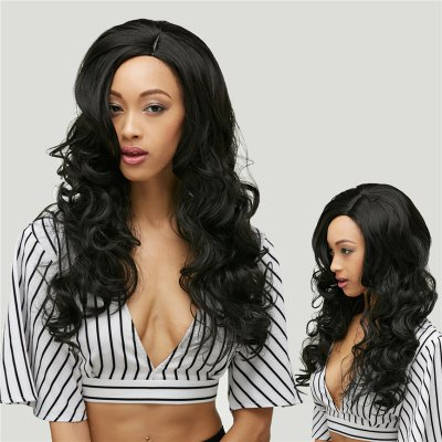 Long Side Parting Black Loose Wave Synthetic Hair Wig