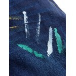Zip Fly Straight Leg Spray Paint Panel Jeans for sale