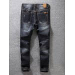 cheap Zip Fly Scratched Tapered Jeans