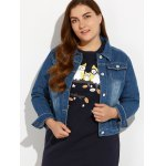 cheap Plus Size Buttoned Pocket Design Denim Jacket