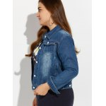 Plus Size Buttoned Pocket Design Denim Jacket for sale