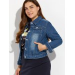 Plus Size Buttoned Pocket Design Denim Jacket deal