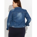 best Plus Size Buttoned Pocket Design Denim Jacket