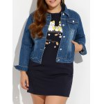 Plus Size Buttoned Pocket Design Denim Jacket