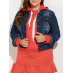Plus Size Buttoned Star Graphic Denim Jacket