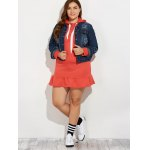 best Plus Size Buttoned Star Graphic Denim Jacket