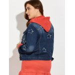 Plus Size Buttoned Star Graphic Denim Jacket for sale
