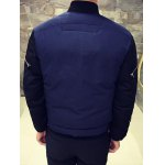 Zippered Contrast Color Snap Front Padded Jacket for sale