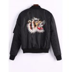 cheap Back Tiger Embroidered Bomber Jacket with Pockets