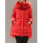 High Low Down Coat With Fur Hooded