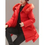 cheap High Low Down Coat With Fur Hooded