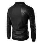 cheap Rib Insert PU Leather Zip Up Jacket