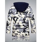 cheap Zip Up Camouflage Hooded Quilted Coat