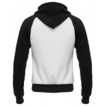 cheap Hooded Color Block Design Zip Up Flocking Hoodie