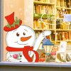Merry Christmas Snowman Shop Showcase Wall Stickers for sale