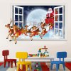 3D Faux Window Santa Flying Christmas Wall Stickers