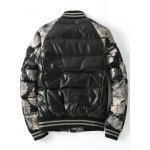 cheap Zip Up Patch Design Printed Quilted Jacket