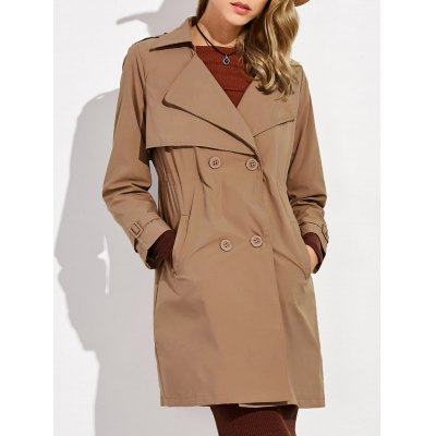 Button Up Drawstring Trench Coat