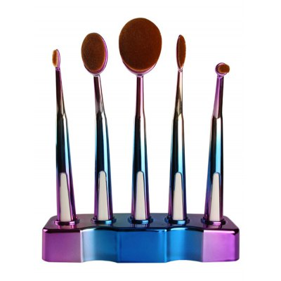 5 Pcs Ombre Toothbrush Shape Makeup Brushes Set with Holder