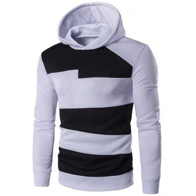 Contrast Panel Pullover Hoodie