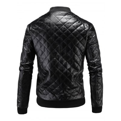 Stand Collar Argyle Zip Up PU Leather JacketMens Jackets &amp; Coats<br>Stand Collar Argyle Zip Up PU Leather Jacket<br><br>Clothes Type: Leather &amp; Suede<br>Collar: Stand Collar<br>Material: Cotton, Faux Leather<br>Package Contents: 1 x Jacket<br>Season: Winter<br>Shirt Length: Regular<br>Sleeve Length: Long Sleeves<br>Style: Fashion<br>Weight: 0.7840kg