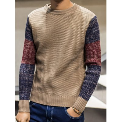 Color Block Pullover Crew Neck Sweater