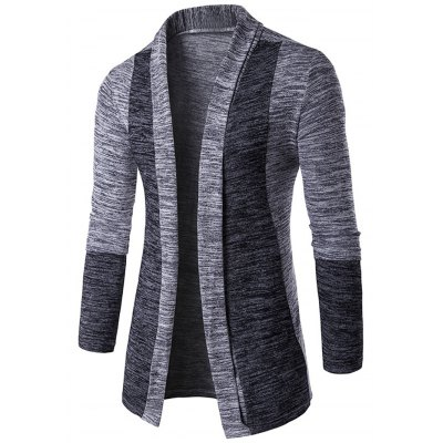 Space Dye Contrast Panel Open Front Cardigan
