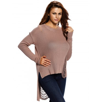 High Low Distressed Sweater