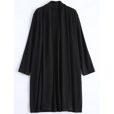 Plus Size Collarless Open Front Longline Coat
