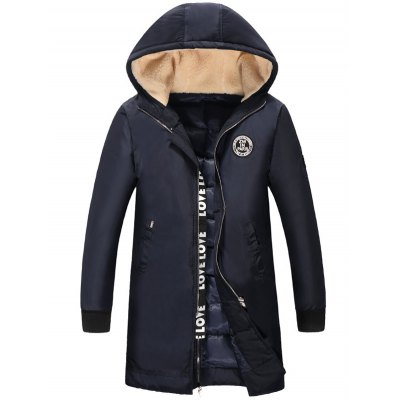 Plus Size Flocking Hooded Graphic Print Insert Lengthen Quilted Coat