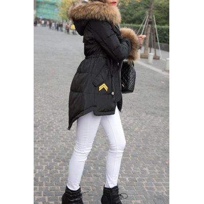 High-Low Hooded Down Coat