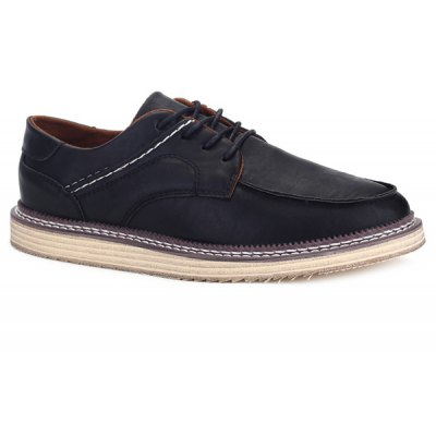 Stitching Faux Leather Casual Shoes