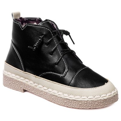 Stitching Colour Block Tie Up Ankle Boots