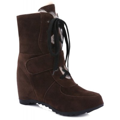 Tie Up Hidden Wedge Suede Short Boots
