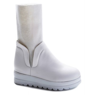 Hidden Wedge Knitting PU Leather Snow Boots