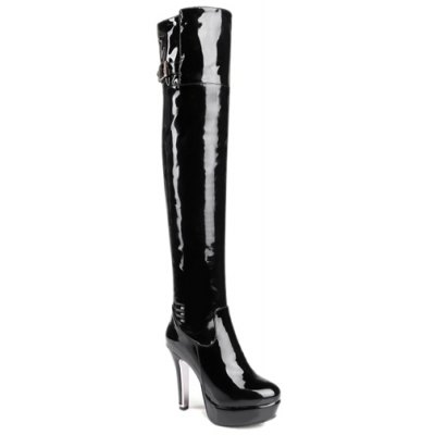Patent Leather Buckle Strap Thigh Boots