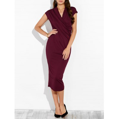Draped Surplice Sheath Dress
