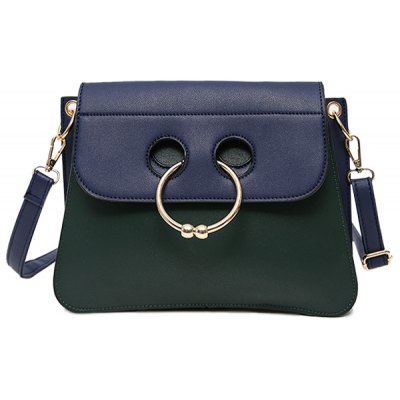 Metal Ring Faux Leather Crossbody Bag
