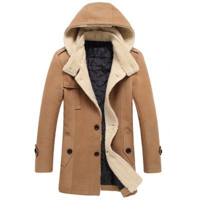 Hooded Thicken Flocking Single Breasted Wool Blends Coat