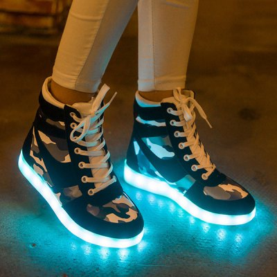 High Top Camo LED Sneakers