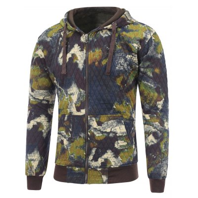 Printed Zip Up Quilted Hoodie