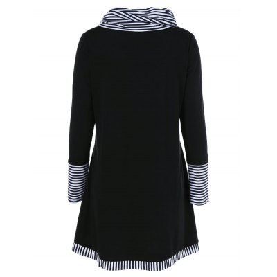 Long Sleeve Plus Size Striped Trim Overlap T-ShirtTees<br>Long Sleeve Plus Size Striped Trim Overlap T-Shirt<br><br>Collar: Cowl Neck<br>Material: Polyester, Spandex<br>Package Contents: 1 x T-Shirt<br>Pattern Type: Patchwork<br>Season: Fall, Spring<br>Shirt Length: Long<br>Sleeve Length: Full<br>Style: Casual<br>Weight: 0.3900kg