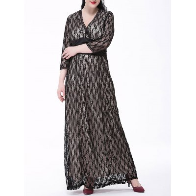 Plus Size Formal Lace Maxi Dress with Sleeves