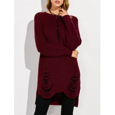 Crew Neck High Low Ripped Sweater
