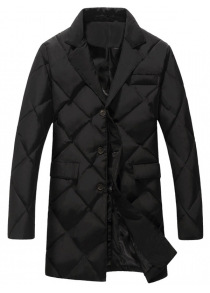 Plus Size Argyle Thicken Lengthen Quilted Coat