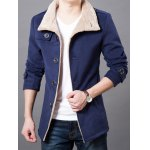 Turndown Collar Epaulet Design Wool Blend Coat deal