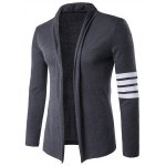 Striped Sleeve Flat Knitted Open Front Cardigan