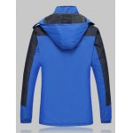 cheap Plus Size Thicken Detachable Hooded Color Block Polyester Jacket