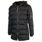 cheap Hooded Zip-Up Letter Pattern Padded Coat