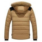 cheap Faux Fur Collar Hooded Plus Size Zip Up Thicken Quilted Jacket